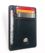 Mens Leather Slim Wallet RFID Blocking Money Clip ID Holder Credit Card Wallet