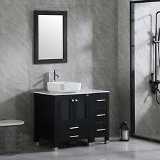 36'' Black Modern Bathroom Vanity Cabinet Bowl Sink w/Faucet Mirror Combo