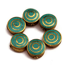 Round Coin Wholesale Lot Nepal Ub2497 Turquoise Brass 6 Beads Tibetan Flat