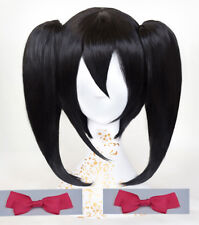 Love Live! Nico Yazawa Wig Black 2 Clip Ponytails Cosplay Wigs + Red Bow Ties