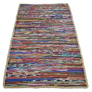 Rag Rug Recycled Fleece & Natural Jute, Multi Colour - Clearance Sale 30% OFF