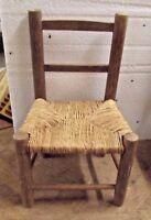 Ancien Petite Chaise Rotin Paille Enfant tressage fait main Old Small Armchair .