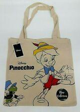 New! Disney PINOCCHIO & Jiminy Cricket Tote Canvas Bag Collection 100% Cotton
