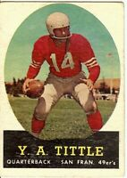 Y.A. Tittle 1958 Topps Vintage Football Card San Francisco 49ers #86 EX