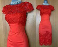 Karen Millen Coloured Floral Lace Dress Red Cotton Cocktail Party Prom size 10