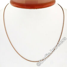 """Solid 14K Rose Gold 16"""" 1.0mm Cable Link Chain Necklace w/ Lobster Clasp 2.72g"""