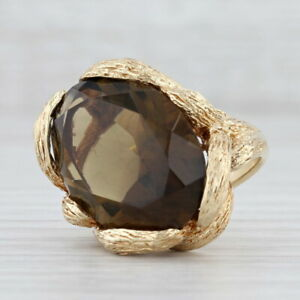 19ct Smoky Quartz Solitaire Ring 14k Yellow Gold Size 6.5 Gothic Cocktail