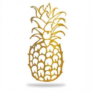 "GOLD PINEAPPLE WALL ART HANGING PLAQUE 11.5""  HAND MADE IN USA INDOOR/OUTDOOR"