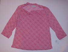 NWT Red White Shirt Top Blouse Drape Neck L to XL Liz Claiborne 3/4 Sleeves