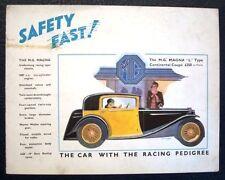 Mg magna type l gamme les ventes automobiles brochure oct 1933