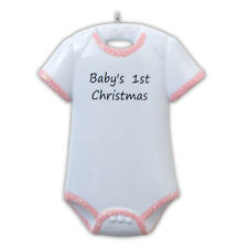 Pink Newborn Baby Shirt Personalized Christmas Tree Ornament