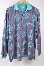 Vintage OVER THE Moo Moo MOON Cow Purple/Teal Long Sleeve sweatshirt Collar OSFM