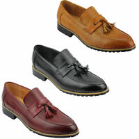 Mens Leather Lined Maroon Black Tassel Loafer Smart Casual Slip on Driving Shoes