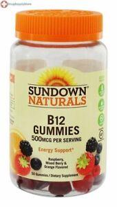 Sundown Naturals B12 500 mcg Gummies Raspberry, Mixed Berry & Orange 50 Gummies