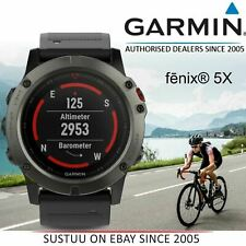 Garmin Fenix 5X Schiefer Grau Saphir Multisport GPS Smart Uhr │ Black Band │ Hrm