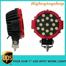 "2X51W 7"" LED Work Light SPOT RED Round Offroad fog Driving 4WD Boat UTE ATV JEEP"