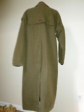 Vtg LONG Cotton Womens DUSTER COAT Jacket Leather COLLAR Wool Lining M Medium