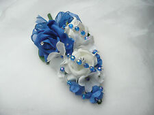 Wedding Flower Buttonhole Corsage Ivory & Royal Blue Rose.... PIN ON