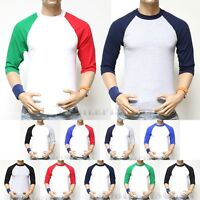 Men's  PRO CLUB 3/4 Sleeve Baseball Raglan T-Shirt Lot  Sports Casual  Crew Tee