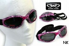 Womens Padded Folding Motorcycle Riding Goggles Hot Pink Animal Pattern Frames