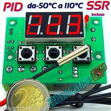 TERMOSTATO PID DIGITALE CONTROLLER 12V DC 110℃ CON RELÈ SSR 120W NTC 10K LED