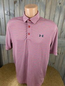 Under Armour Performance Short Sleeve Polo Shirt Red Gray Striped Sz M HEAT GEAR