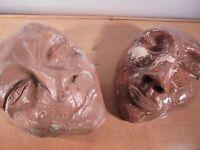 Céramique Vintage 50 Rare paire de masques Terre mêlée, DLG Vallauris La Borne