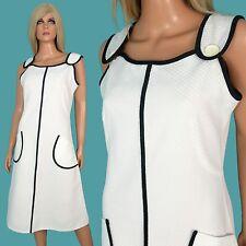 Vintage 60s SUN DRESS Mod GoGo Retro A-Line White Waffle Weave PIQUE Textured XL