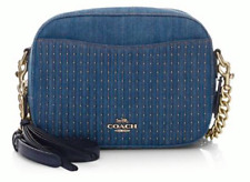 🌺🌹Coach Studded Denim Camera Bag Crossbody Blue