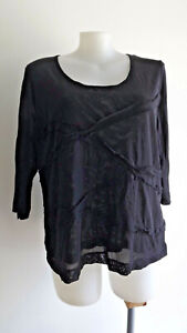 LOVELY Black Double Sheer 3/4 Sleeve Top .... TS .... Size XL/24   #F0221