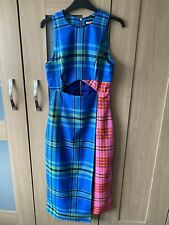 House Of Holland Cut Out Tartan Midi Dress Size 8 New With Tags. RRP £469.00