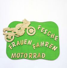 Gracioso Letrero Para Puerta Para Motorista, FESCHE Mujeres FAHREN Motocicleta,