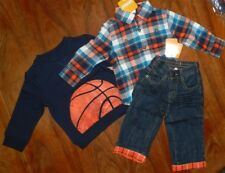 Jeans Set Gymboree 4pc Denim Flannel Shirt Sweatshirt Boy size 12-18 month New