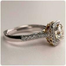Ring In 925 Sterling Silver Moissanite Halo Ring Engagement Wedding
