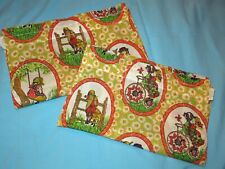 Lot 2 Vtg Holly Hobbie Cotton Fabric Curtain Panel rod pocket 30W x 37L crisp