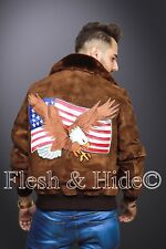 American Bald Eagle on USA Flag Genuine Cowhide Suede Leather Bomber Jacket