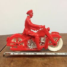 Excellent! Vintage 50s 60s Motorcycle Auburn Plastic Toy Red White Police Cop