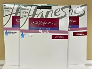 HANES Silk Reflections Silky Sheer PLUS Control Top Asst Sizes Barely Black NIP