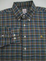 Mens Large Brooks Brothers Non Iron multicolor plaid button down logo shirt