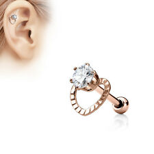 CZ Hollow Heart Top Surgical Steel Helix Tragus Cartilage Barbell Stud Earring