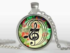 Glass Dome Cabochon Pendant Chain Charm NECKLACE Music Key Note Clef Symbol N253