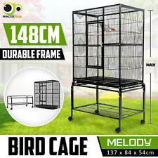 Bird Cage Parrot Aviary Pet Stand-alone Budgie Perch Castor Wheels Large 148cm