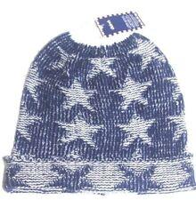 New knit cap blue white STAR motif soft acrylic beanie mens womens unisex gift