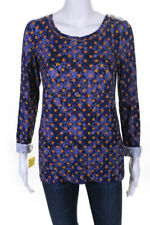 Catherine Andre Womens Dolores Long Sleeve Polka Dot Blouse Purple Size Large