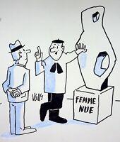 [ Humor - Pisa- ] Guy Valls - Mujer Desnuda - Dibujo Original Firmado