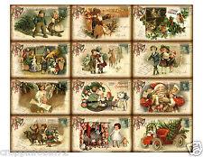 CHRISTMAS VINTAGE POSTCARDS (01) SCRAPBOOK CARD EMBELLISHMENTS HANG/GIFT TAG