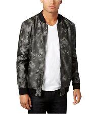 INC International Concepts Mens Faux-Leather Front Zip Bomber Jacket Black L