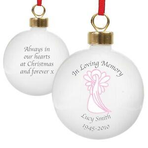 In Loving Memory Christmas Tree personalised Bauble Pink Angel or Dove