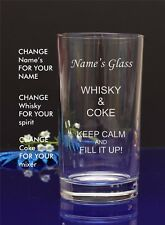Personalised nameEngraved Hi ball Tumbler mixer spirit WHISKEY AND COKE glass 13