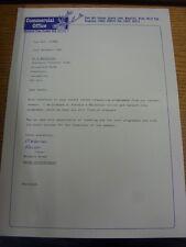 21/11/1991 MANSFIELD TOWN: UFFICIALE UFFICIALE commerciali lettera da Vendite Co-ord